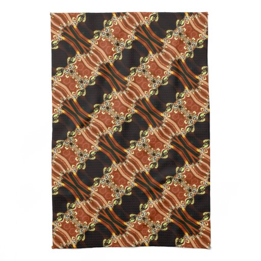 Gold Fire Frills Batik Kitchen Tea Cloth