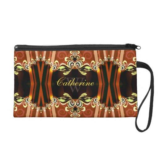 Gold Fire Frills Batik Wristlet Bags
