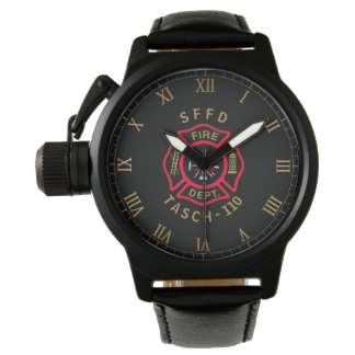 Gold Firefighter Badge Personalized Wristwatch