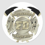 Gold Firefighter Brotherhood Symbol Classic Round Sticker