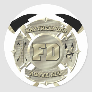 Gold Firefighter Brotherhood Symbol Classic Round Sticker