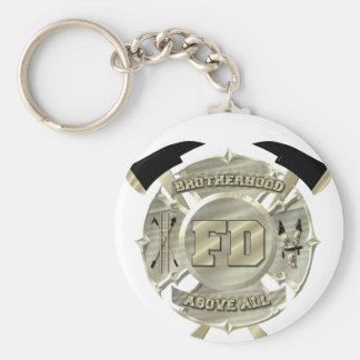 Gold Firefighter Brotherhood Symbol Keychain