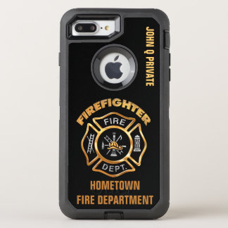 Gold Firefighter Name Template OtterBox Defender iPhone 7 Plus Case