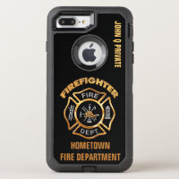 Gold Firefighter Name Template OtterBox Defender iPhone 8 Plus/7 Plus Case