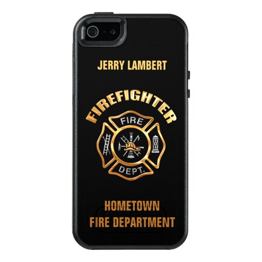 gold firefighter name template otterbox iphone 5 5s se case zazzle com