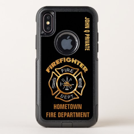 Gold Firefighter Name Template OtterBox Commuter iPhone X Case
