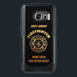 "Gold Firefighter Name Template OtterBox Samsung Galaxy S7 Case<br><div class=""desc"">Gold Fire Department logo. Personalize with your name and department. Great for firemen and first respondents.</div>"