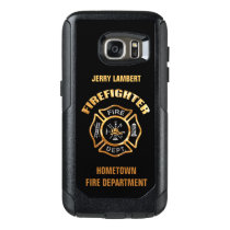 Gold Firefighter Name Template OtterBox Samsung Galaxy S7 Case