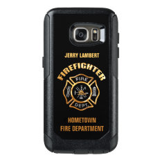 Gold Firefighter Name Template Otterbox Samsung Galaxy S7 Case at Zazzle