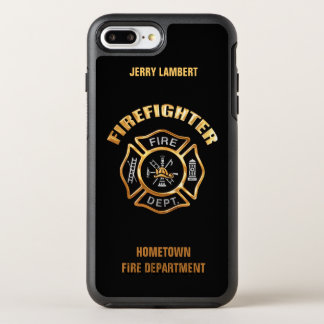 Gold Firefighter Name Template OtterBox Symmetry iPhone 7 Plus Case