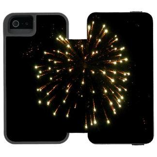 Gold Fireworks Burst Wallet Case For iPhone SE/5/5s