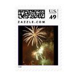 Gold Fireworks Celebration Postage Stamp
