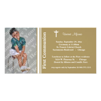 Gold First Communion Photo Invitation