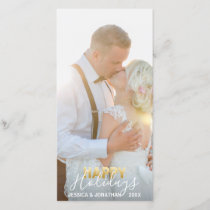Gold First MARRIED HAPPY Holidays Xmas | Add PHOTO Holiday Card