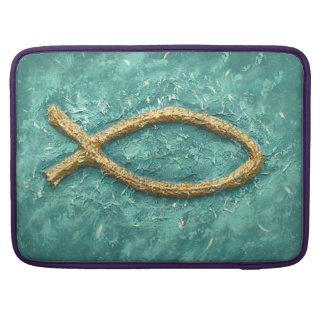 Gold Fish Christian symbol MacBook Pro Sleeve