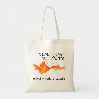 Gold Fish in love I heart You Budget Tote Bag
