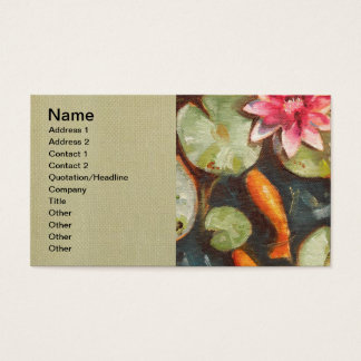 Gold Fish Koi Pond Water Lilies Business Card