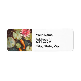 Gold Fish Koi Pond Water Lilies Label