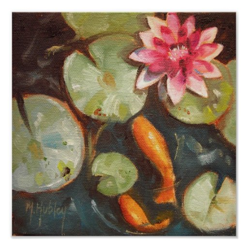 Gold fish koi pond water lilies posters zazzle for Koi pond gift ideas