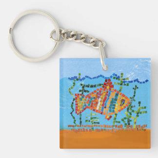 Gold Fish Mosaic Keychain