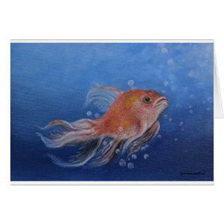 Gold fish original painting on card