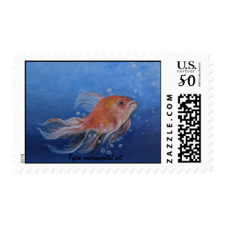 Gold fish painting on postage