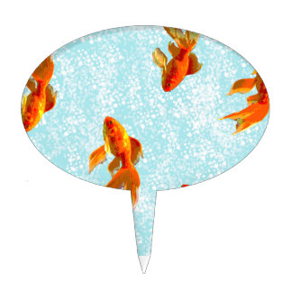 gold fish pattern cake topper