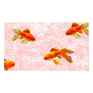 Gold fish pattern pink business card