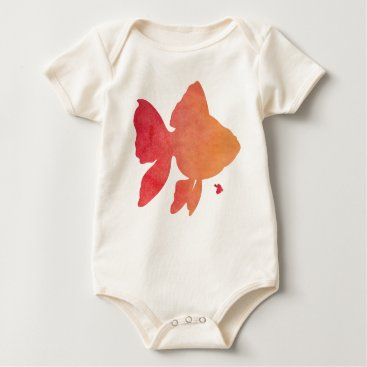 Beach Themed gold-fish-sunset. baby bodysuit