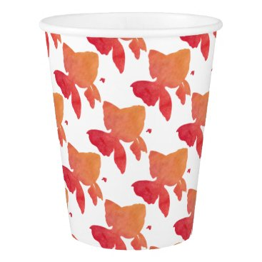 Beach Themed gold-fish-sunset. paper cup