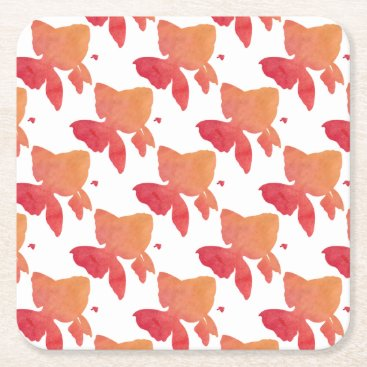 Beach Themed gold-fish-sunset. square paper coaster