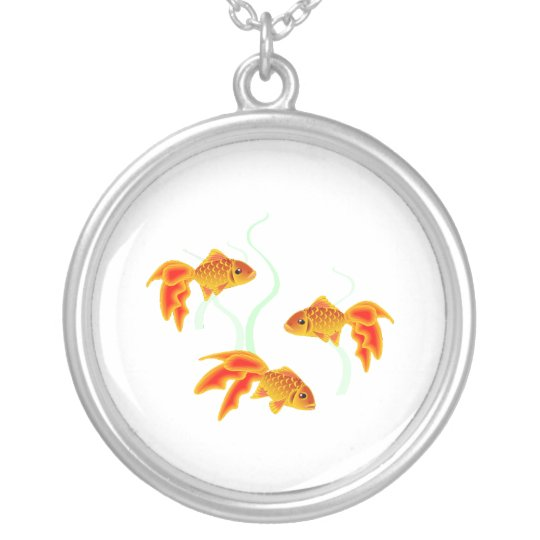 Gold Fishies Silver Plated Necklace