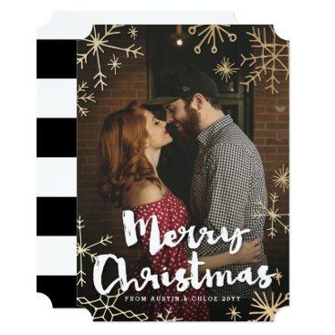Christmas Themed Gold Flakes Christmas Card