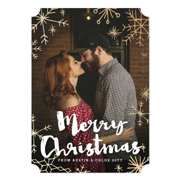 Gold Flakes Christmas Card