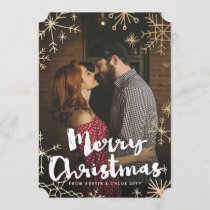 Gold Flakes Christmas Holiday Card