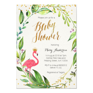 gold flamingo baby shower invitation