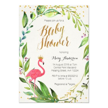 Toddler & Baby themed Gold Flamingo Baby Shower invitation