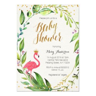 flamingo baby shower card | zazzle, Baby shower invitations