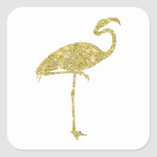 Gold Flamingo Faux Glitter Flamingos Tropical Bird Square Sticker