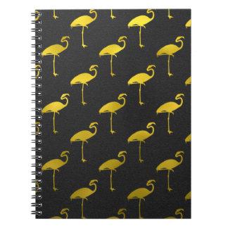 Gold Flamingo Faux Metallic Foil Tropical Flamingo Spiral Notebook