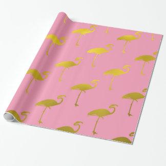 Gold Flamingo Faux Metallic Foil Tropical Flamingo Wrapping Paper