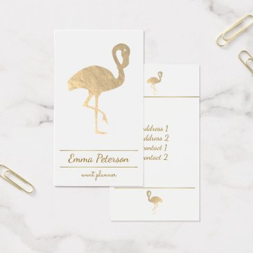 Professional Business gold flamingo on white business card