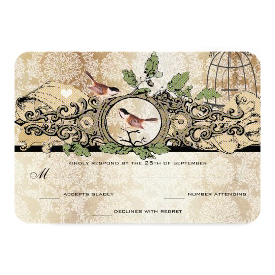 Gold Flecks Birdcage Damask Vintage Love Bird RSVP Card
