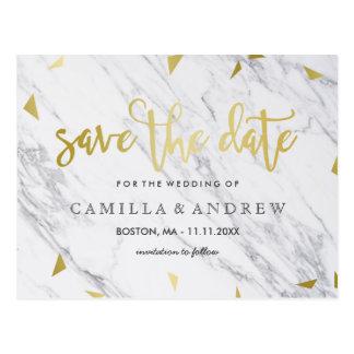 Gold Flecks & Marble | Brush Script Save the Date Postcard