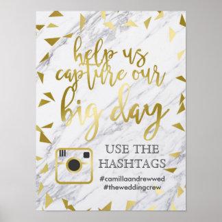 Gold Flecks & Marble Wedding Hashtag Poster
