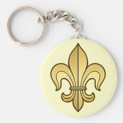Gold Fleur de lis Basic Round Button Keychain