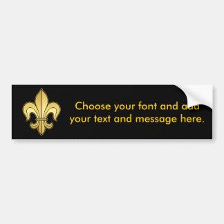 Gold Fleur de lis Car Bumper Sticker