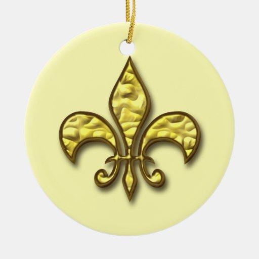 Gold fleur de lis christmas ornament zazzle