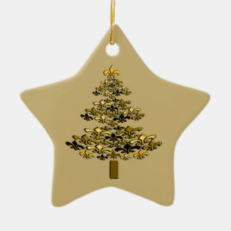 Gold Fleur de Lis Christmas Tree Star Ceramic Ornament