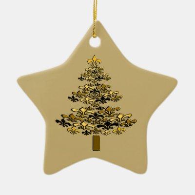 Black Gold Fleur De Lis Christmas Tree Star Ceramic Ornament Zazzle Com